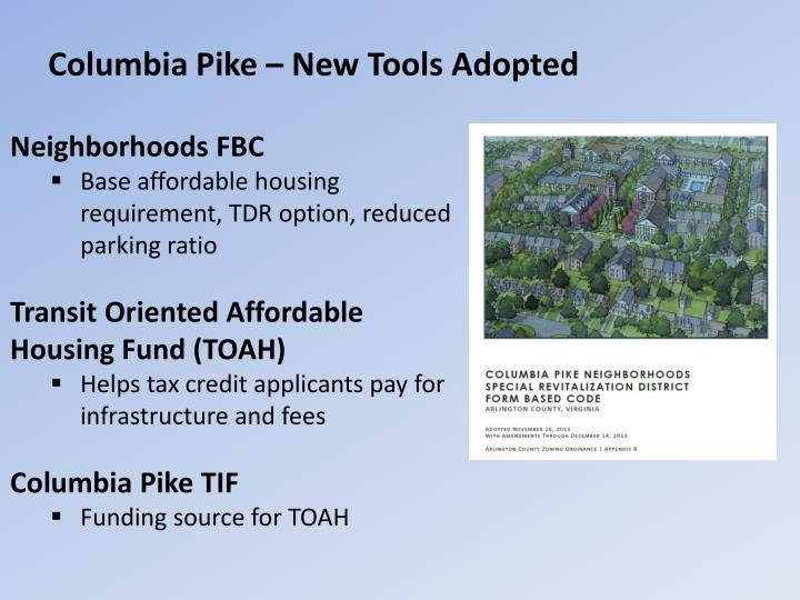 Columbia pike new tools adopted