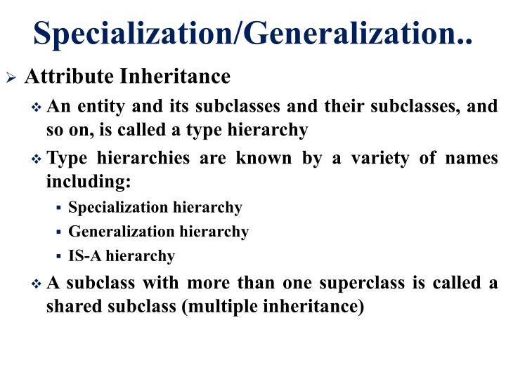 Specialization/Generalization..