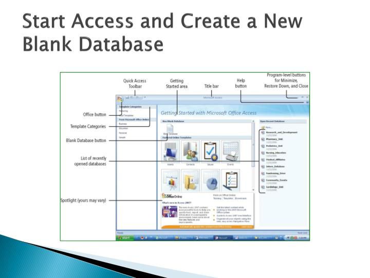 Start Access and Create a New Blank Database
