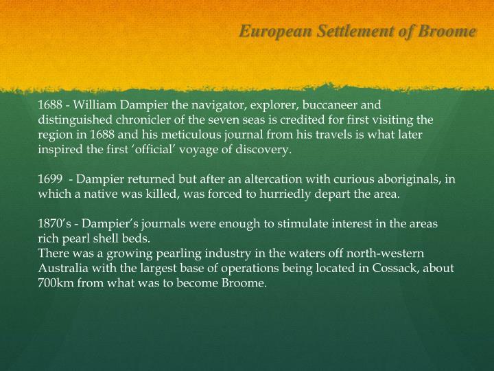 European Settlement of Broome