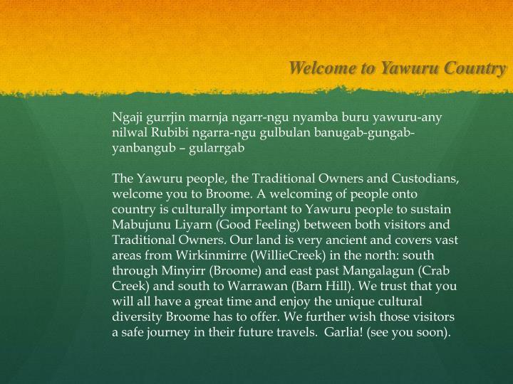 Welcome to Yawuru Country