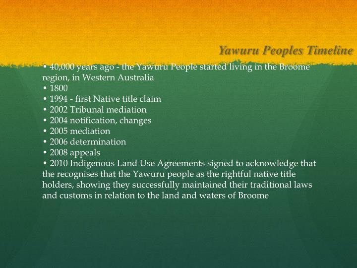 Yawuru Peoples Timeline