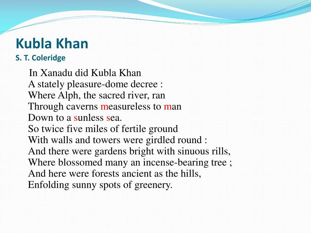 Ppt Kubla Khan S T Coleridge Powerpoint Presentation Free Download Id 1941065 Samuel Taylor Theme
