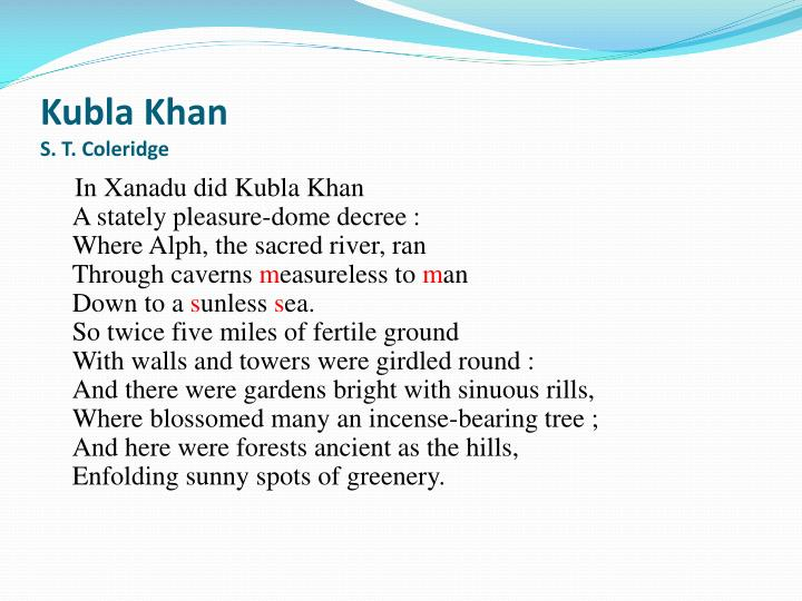kubla khan s t coleridge n.