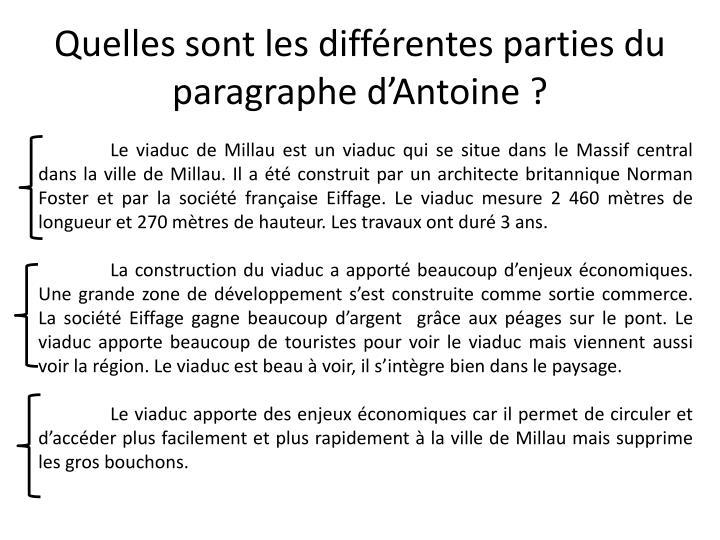 Quelles sont les différentes parties du paragraphe d'Antoine ?