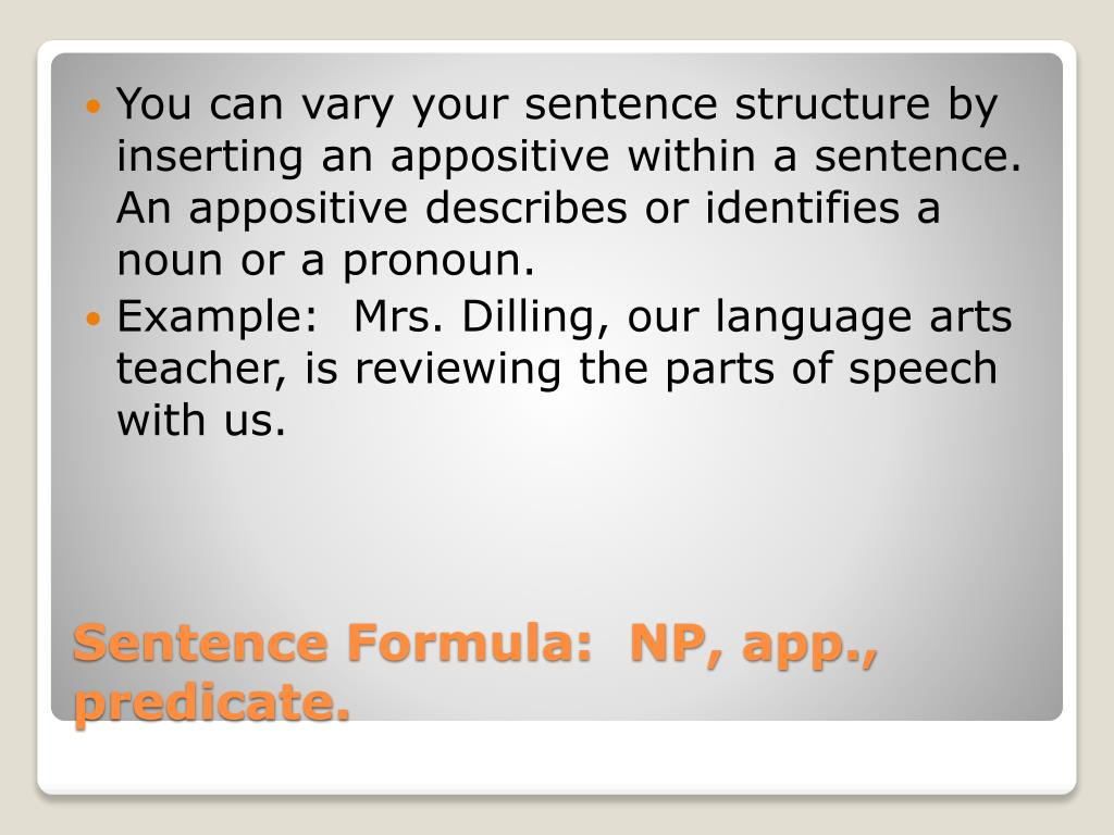 PPT - The Parts of Speech and Sentence Formulas PowerPoint