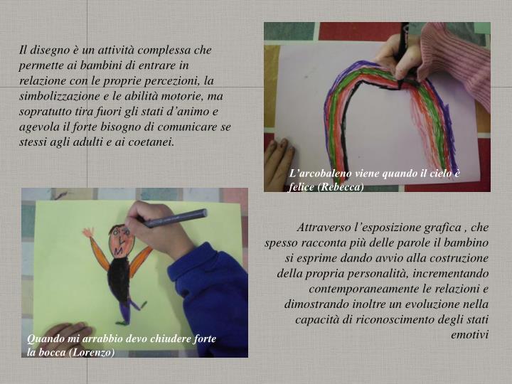 Il disegno è un attività complessa che permette ai bambini di entrare in relazione con le proprie ...