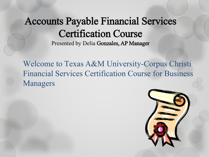 PPT - Accounts Payable Financial Services Certification Course ...