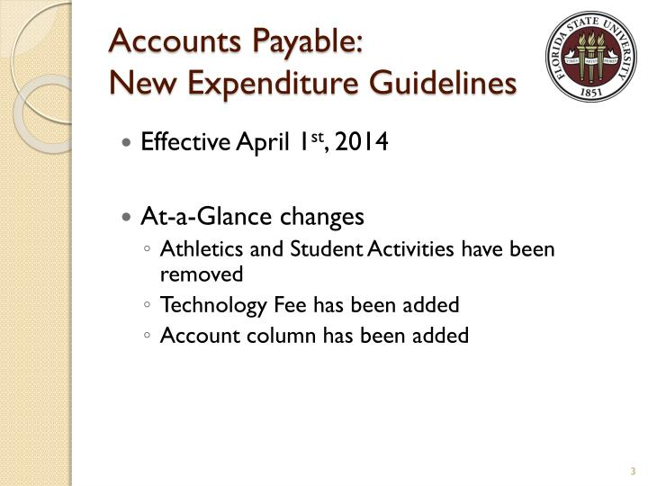 Accounts payable new expenditure guidelines