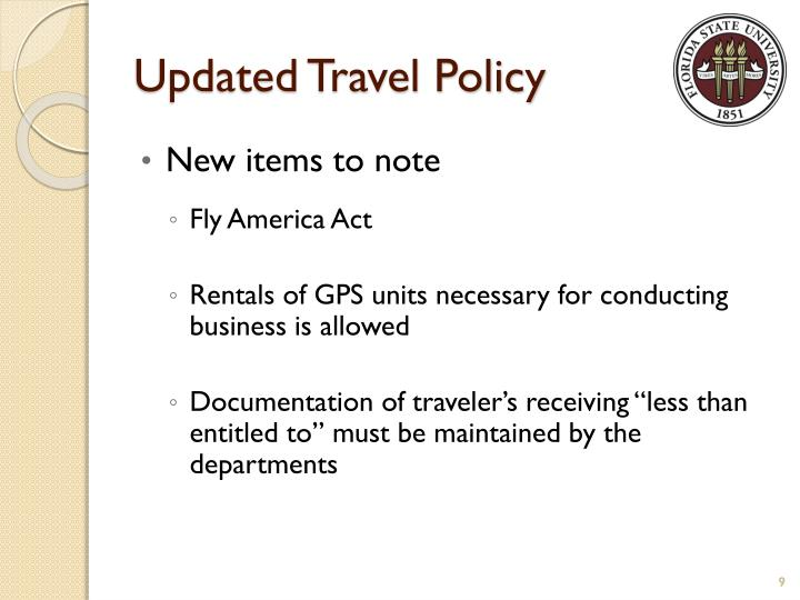 Updated Travel Policy