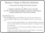 modern tests of mental abilities