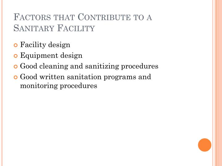 Factors that Contribute to a Sanitary Facility