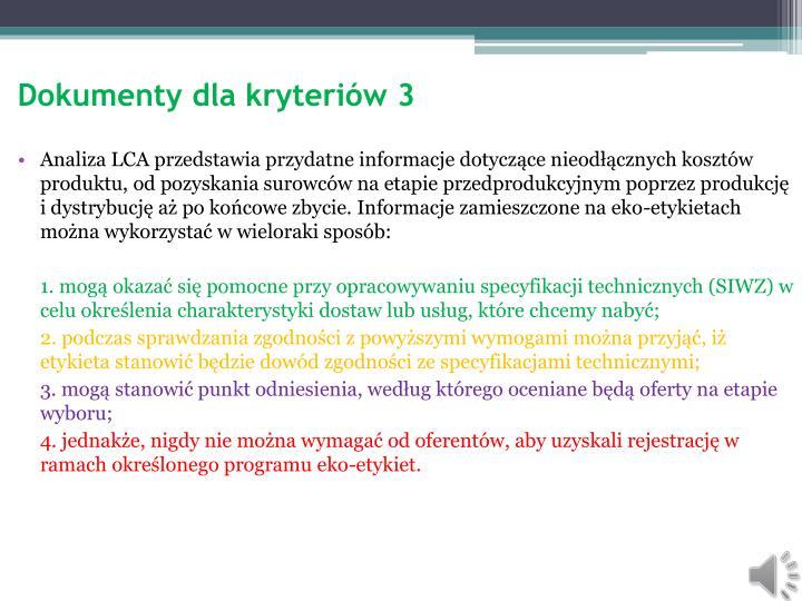 Dokumenty dla kryteriów 3