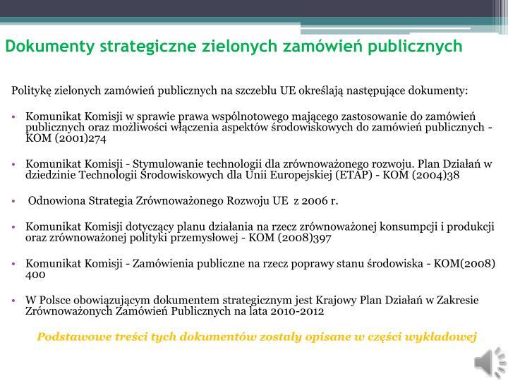 Dokumenty strategiczne zielonych zam wie publicznych