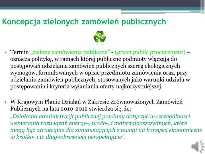 Koncepcja zielonych zam wie publicznych