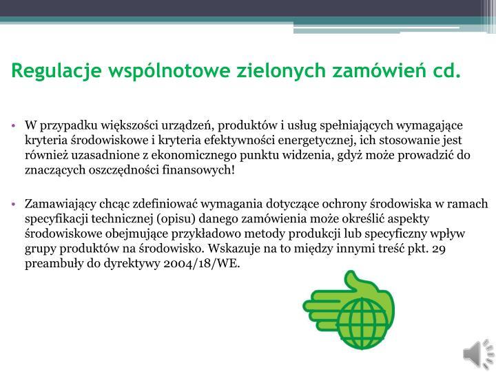 Regulacje wspólnotowe zielonych zamówień