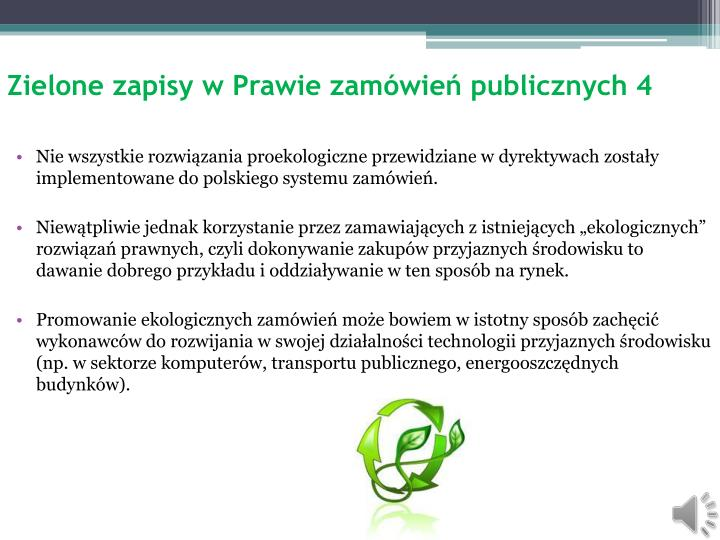 Zielone zapisy w Prawie zamówień publicznych 4