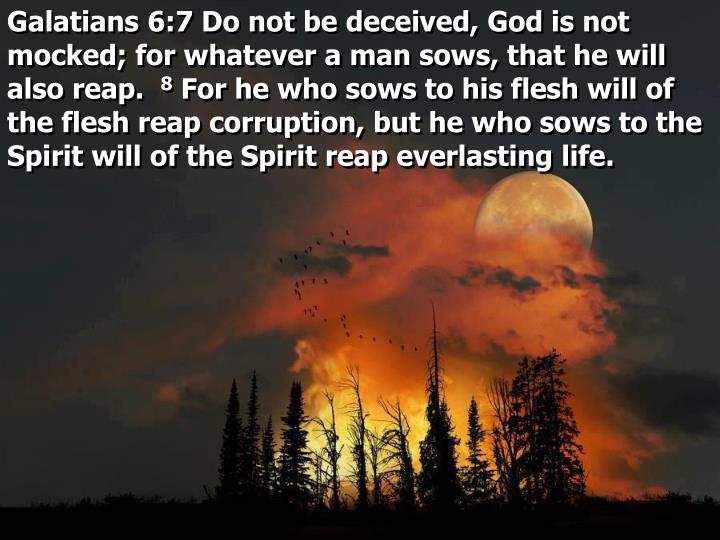 Galatians 6:7 Do not be deceived, God is not mocked; for whatever a man sows, that he will also reap.