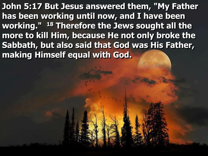 """John 5:17 But Jesus answered them, """"My Father has been working until now, and I have been working."""""""