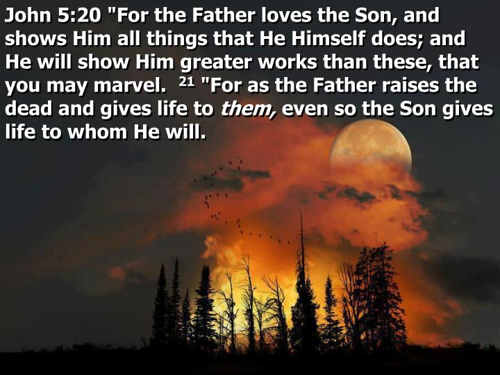 """John 5:20 """"For the Father loves the Son, and shows Him all things that He Himself does; and He will show Him greater works than these, that you may marvel."""