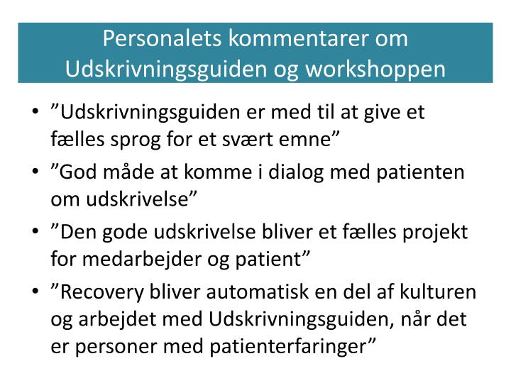 Personalets kommentarer om Udskrivningsguiden og workshoppen