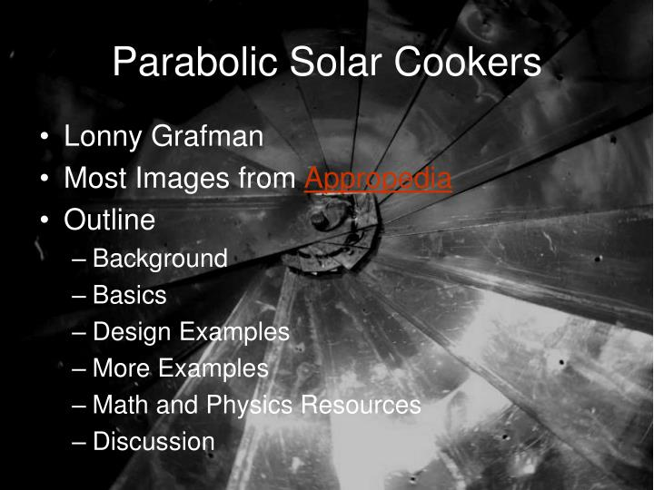 parabolic solar cookers n.