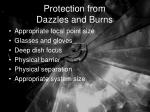 protection from dazzles and burns