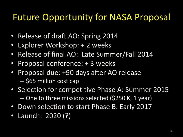 Future Opportunity for NASA Proposal