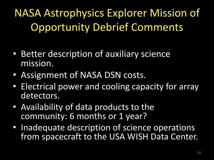 NASA Astrophysics Explorer Mission of Opportunity Debrief Comments
