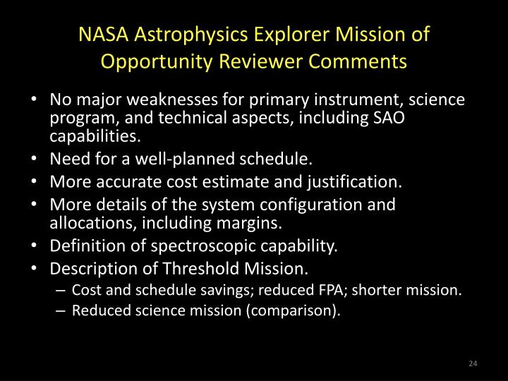 NASA Astrophysics Explorer Mission of Opportunity Reviewer Comments