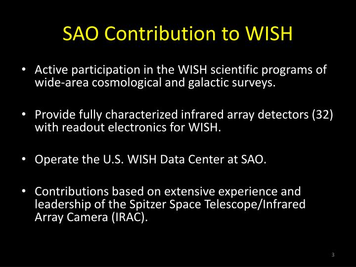 Sao contribution to wish