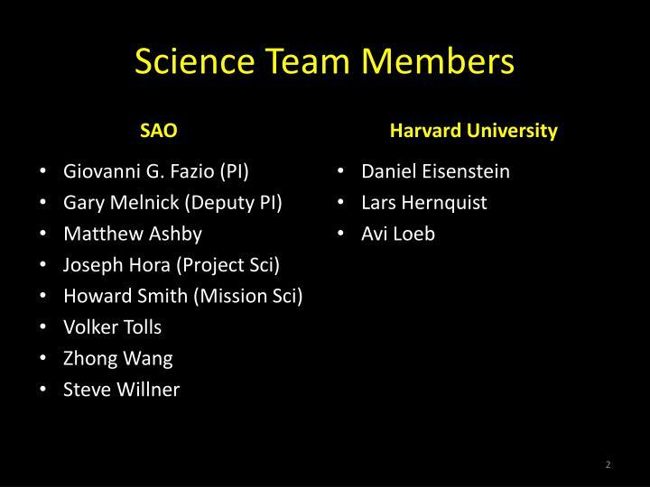 Science team members