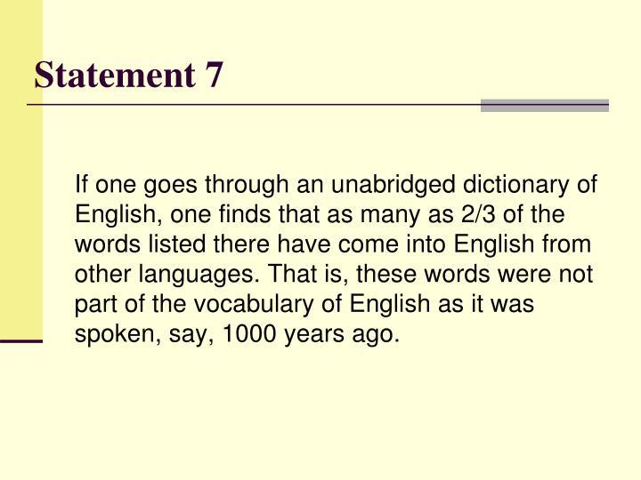 Statement 7