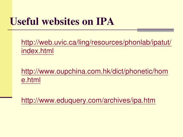 Useful websites on IPA