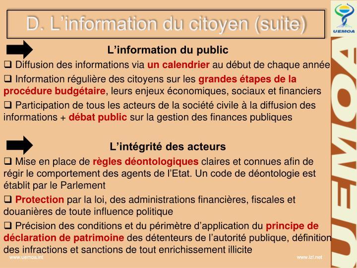 D. L'information