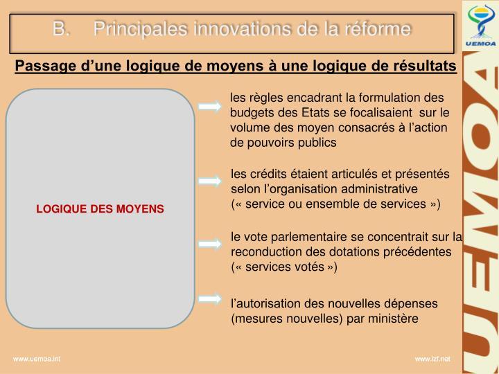 Principales innovations de la réforme