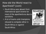 how did the world react to apartheid cont