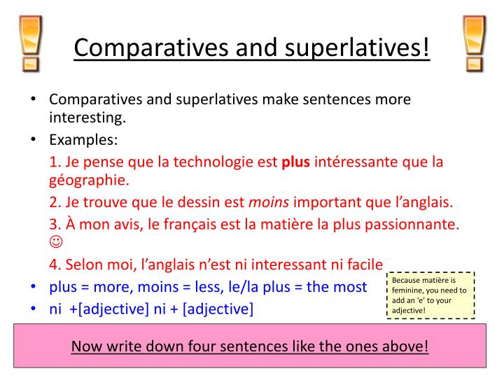 Comparatives and superlatives!
