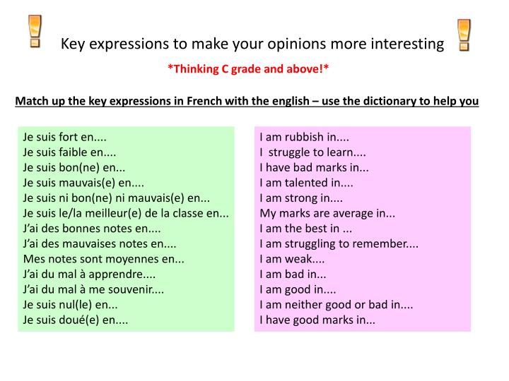 Key expressions to make your opinions more interesting