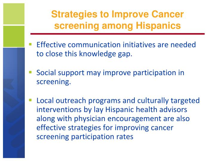 Strategies to Improve Cancer screening among Hispanics
