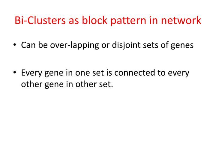 Bi-Clusters as block pattern in network