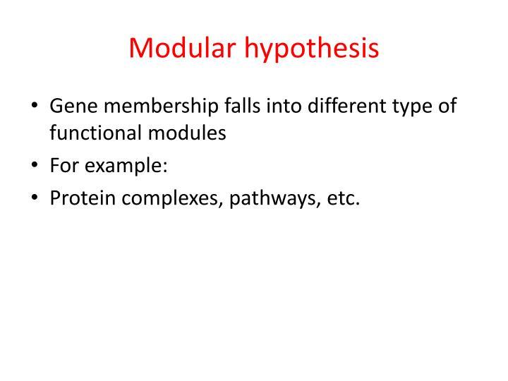 Modular hypothesis