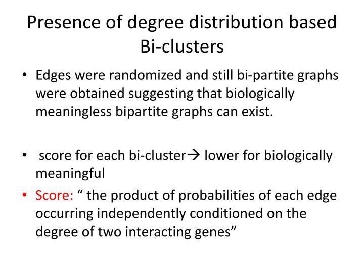 Presence of degree distribution based Bi-clusters