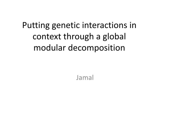 Putting genetic interactions in context through a global modular decomposition