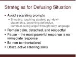 strategies for defusing situation