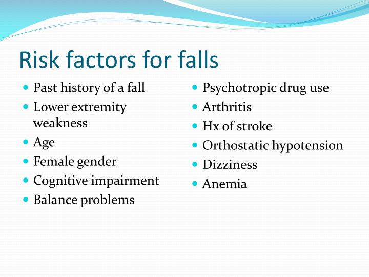 fall risk factors Falls often result in injuries with devastating outcomes in the elderly, falls are the largest cause of injury, mortality, and functional decline, leading to 4.