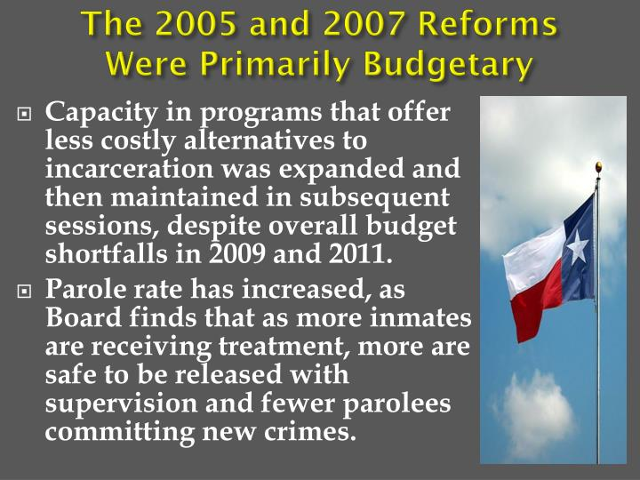 The 2005 and 2007 Reforms Were Primarily Budgetary