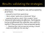 results validating the strategies