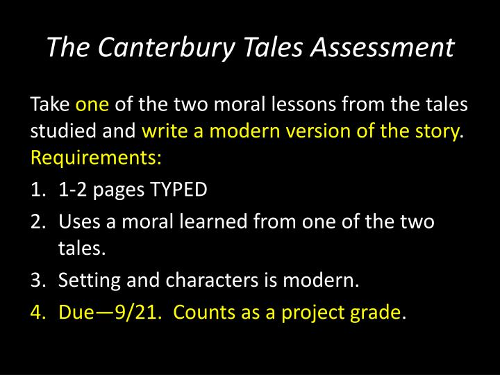 The Canterbury Tales Assessment