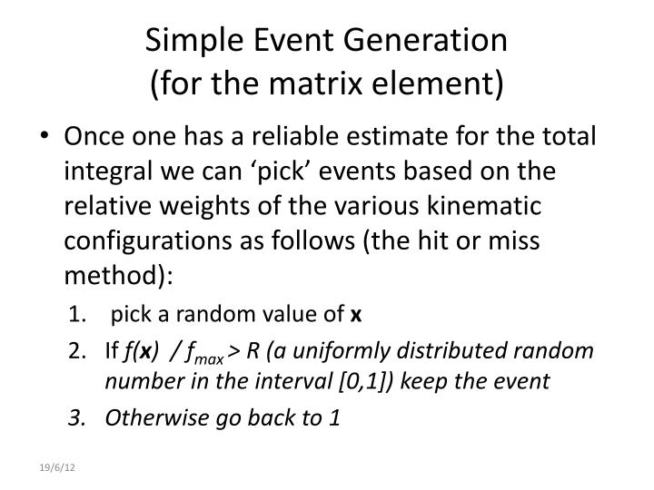 Simple Event Generation